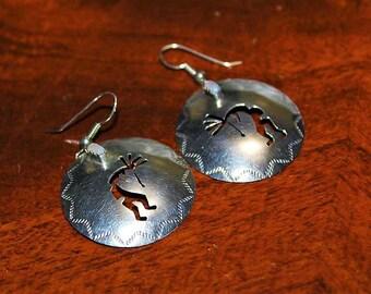 Vintage Sterling Silver Southwestern Kokopelli Cut Out Mother of Pearl MOP Earrings E3