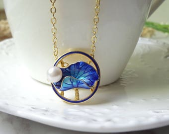 Cloisonne burn blue and gold plated lotus pearl pendant necklace 0330-1
