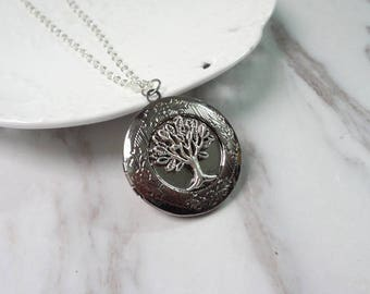 Tree Of Life Oxidized Silver Color Round Picture Locket Pendant Necklace 0357