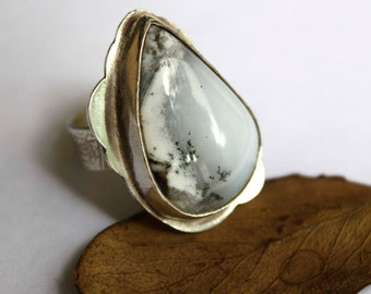 Under the snow, dendritic agate sterling silver ring, designer ring, statement sterling silver ring, cocktail agate silver ring, size 7
