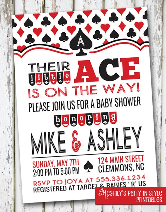 Ace Baby Shower Invitation Playing card invite casino baby – Playing Card Party Invitations