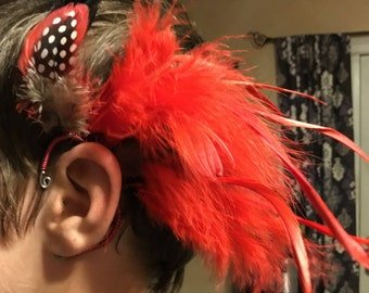Red and Black Feather Ear Cuffs