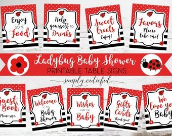 Ladybug Baby Shower Table Signs Printables, Ladybug Baby Shower Party Decor Prints, Ladybug Party Favors Printables Baby Shower Decor