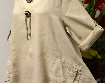Gotta have New Linen Oversized designer Lagenlook Tunic top with Front Pockets