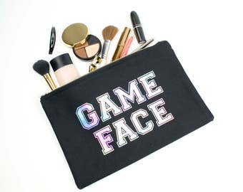 Canvas Pencil Case Iridescent Bag Back to School Zipper Pouch Holographic Handbag Black Clutch Make Up Bag GAME FACE Football Style