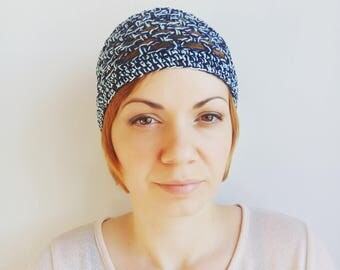 Blue cotton beanie Women cotton hats Navy blue hat Turquoise chemo hat Skull Cap Cotton Skullcap Boho hat Mesh Hat Sunhats