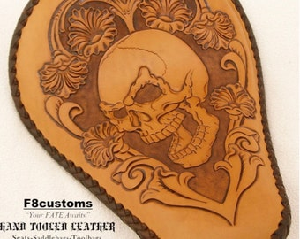 Hand Tooled Leather Motorcycle Seat , Chopper Seat , Bobber Seat , Harley Seat, Custom Motorcycle seat .