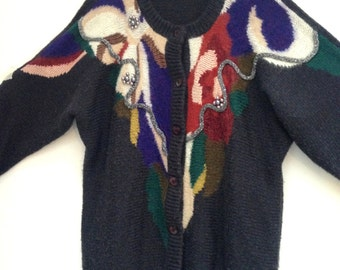 Vintage rad 80s 90s Freesize Oversize Jumper Sweater Cardie Cardigan