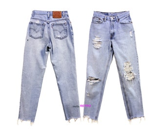 ALL SIZES Vintage High Waisted Distressed Levis Cut Off Ankle Hem Jeans