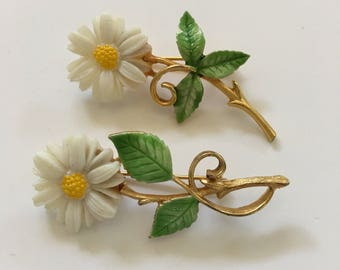 Vintage 1960's JJ Flower Pins Jonette Jewelry Co White Daisy Enameled Brooches