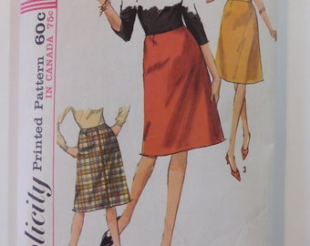 Simplicity 6190 Misses' Skirts with and without waistbands Sizes 18 Sewing Pattern Print 1965 Cut Complete