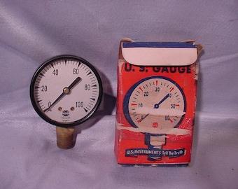 Vintage U.S. Gauge Co. 100lbs Pressure Gage in Box