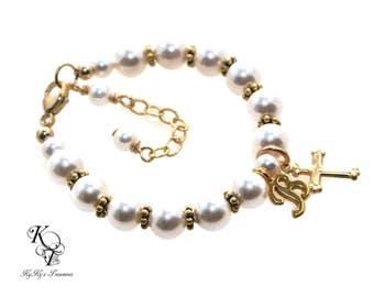 Baptism Bracelet, Gold Baby Bracelet, Personalized Baby Bracelet, Baptism Gift, Personalized Baby Gift, Baby Shower Gift, Baby Gift