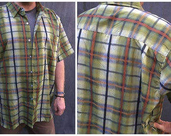 SALE>>> Haband Plaid Short Sleeve Shirt - Men's 4XL Extra Long Big and Tall
