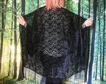 1970s Witchy Gothic Sheer Black Burnout Velvet Fringe Kimono Duster