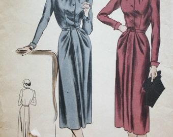 Vogue 6186/ 1940s Vogue Dress Pattern /Pleated Neckline/ Vintage Sewing Pattern/Rare Bust 36