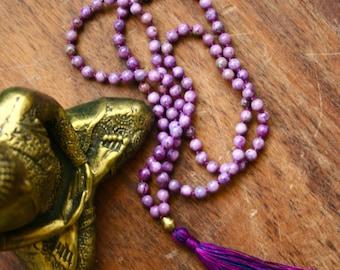 Charoite 108 Mala Beads Knotted Gemstone Mala Prayer Beads Mala Tassel Necklace Crown Chakra Meditation Bead Yoga Necklace Charoite Mala