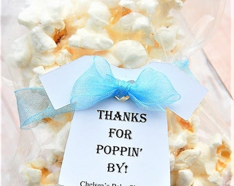 "Thanks For Poppin' By ~ TAG ONLY ~ Baby Onesie Gift Tags ~ Baby Shower Tags ~ 10 tags ~ 2 1/2"" ~ Multiple Colors to Choose From"