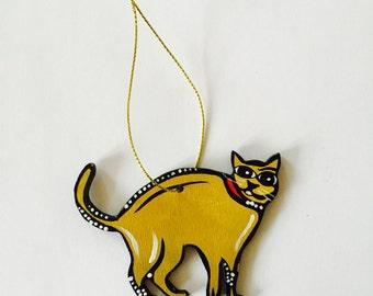 "Cat Ornament - 3"" Original Handmade and Signed Cute Cat Wood Flat Ornament. Christmas Tree Decor - Cat Art. One of a kind."
