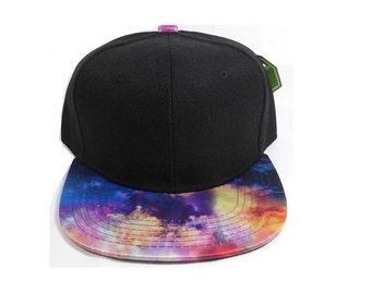 Kids Youth Flat Bill Black Hat Snapback Childs Size Galaxy Cosmic Colors