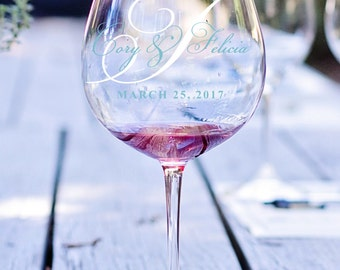 Wedding Day Wine Glass Decal, Wedding Date Decal, Wedding Monogram, Personalized Monogram, Name and Date Decal, Wedding Decoration, Favors