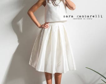 BRIDAL IVORY SKIRT, ivory wedding skirt, wedding separates midi skirt, 1950s style bride, tea length ivory skirt, bridesmaid pleated skirt