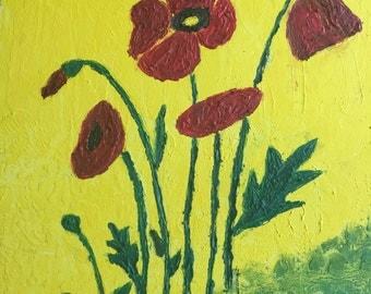 Poppy flower painting