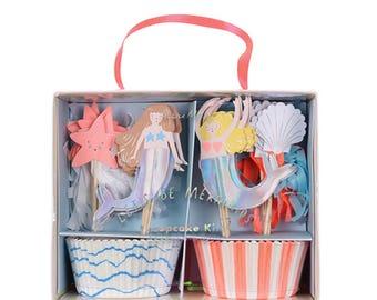 Let's Be Mermaids Cupcake Kit - Meri Meri mermaid birthday party iridescent cake topper dessert