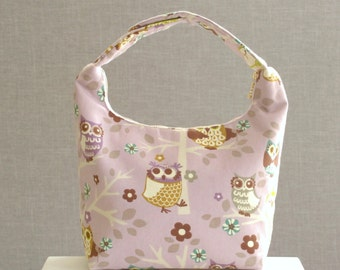 Insulated Lunch Bag, Girls Lunch Bag, Lunch Tote, School Lunch Bag, Childrens Lunch Bag, Whimsical Owl Print on Lavender