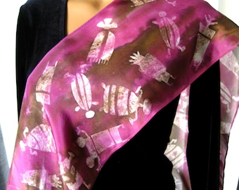 Hand Painted Brown & Purple Silk Scarf. Long Slim Scarf 8x72 inch. Petroglyph Scarf. Primitive Scarf. Brown, Pinkish Purple. Off-White.