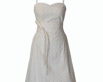 White dress with cherry print, Summer Dress, Floral dress, dress belt, Above the knee dress, Party dress, Casual dress, Sleeveless dress,