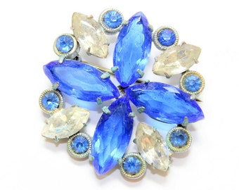 Art Deco Sparkly Blue Clear Rhinestone Diamante Flower Vintage Brooch (c1930s) - Wedding