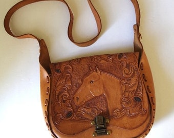 Vintage 1970s Tooled Leather Shoulder Bag Purse with Horse Head and Flowers Rawhide Lace Stitched
