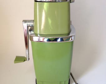 Vintage Sears Avocado Green Ice Crusher with Suction Cup on The Bottom