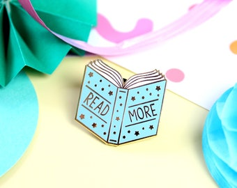 Read More Books Enamel Pin. Pin Game. Bookish Pin. Literary Pin. Literary Gifts. Tea Pin. Lapel Pin. Books. Book Pin. Tea and Books. Reader