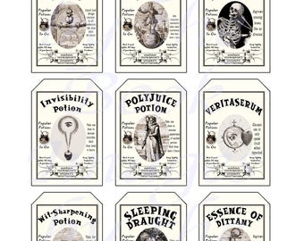 Harry Potter Popular Potions, A Wizard's Apothecary, GIFT TAGS (2 x 3 inches)