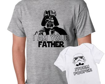 i am your Father - Storm Pooper Star Wars dad and son baby one piece bodysuit Tshirt matching set - father's day gift set