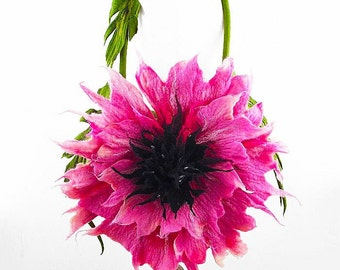 Felted Bag Flower Bag Nunofelt Purse Flower Purse Felt Nunofelt Nuno felt rose fairy fuschia shoulder bag Fiber Art boho