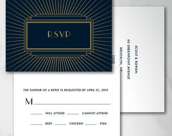 Scout Reply Card | Digital RSVP Card | Printed RSVP Card | Printed Reply Card | Artdeco RSVP Card | Gatsby rsvp Card | Art Deco Wedding