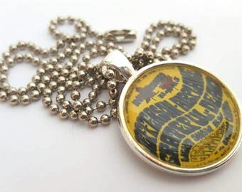 Jefferson Airplane & Grateful Dead Silver Tray Necklace with Stainless Steel Ball Chain -vintage concert poster pendant