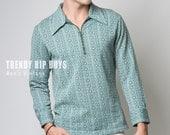 Men's Vintage shirt, Men's 70s shirt, Men's 70s top, Men's Pullover,Vintage Green Shirt,Men's Hipster Top,Men's Knit Shirt, Men's top - M/L