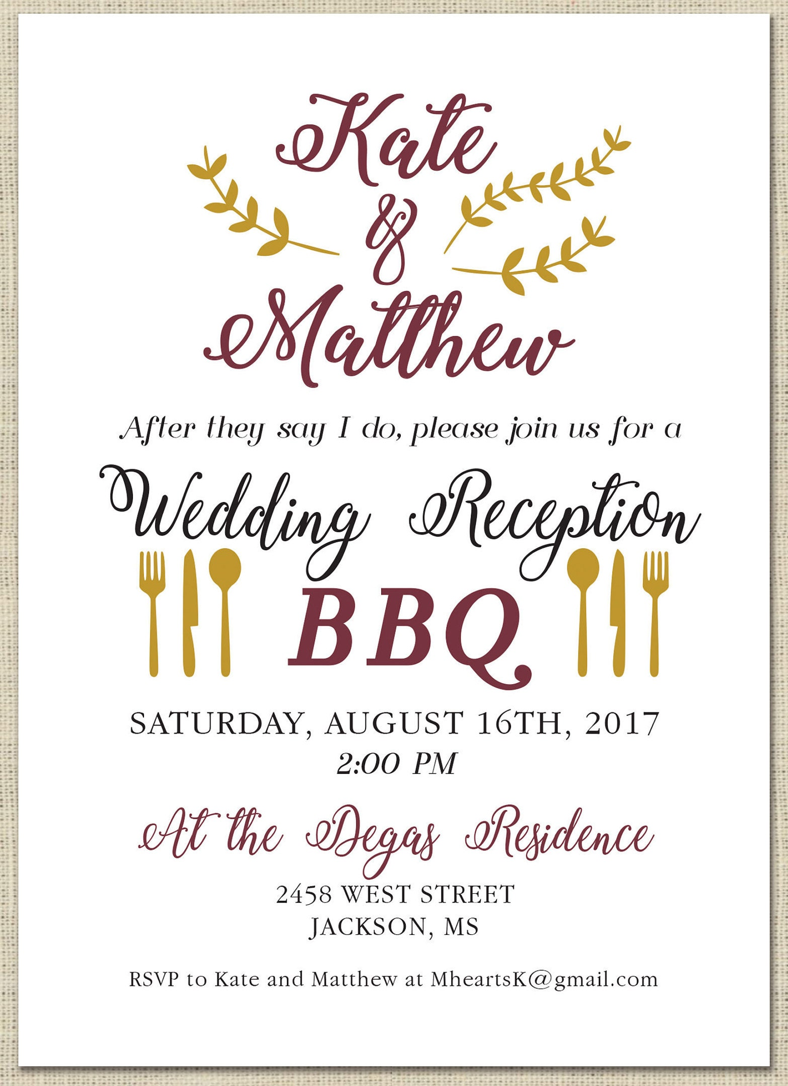 Printable Bbq Wedding Reception Invitation Celebration After Party