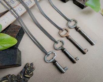 Skeleton Key Necklace | Starburst Ornate | Gunmetal Steel or Antique Brass Chain | Antique | Vintage | Steampunk | Victorian | Limited #'s!