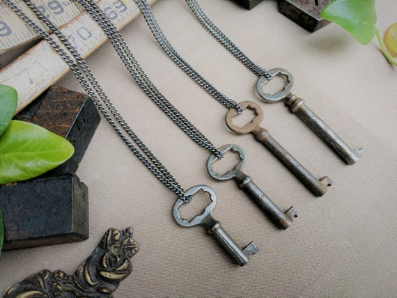 Skeleton Key Necklace | Starburst Ornate | Gunmetal Steel or Antique Brass Chain | Antique | Vintage | Steampunk | Victorian | Limited #'s!