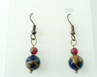 "Bronze finish red tiger eye blue ""world"" bead petite dangle fish hook earrings"