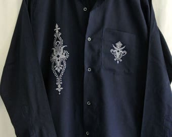 Mens longs sleeved cool cotton shirt - navy blue with embroidery, slim fit