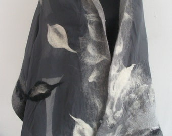 Blanket wrap with beautiful details, Merino wool shawl Merino wool scarf Lightweight poncho Large scarf, Nuno felted scarf Felted wool scarf