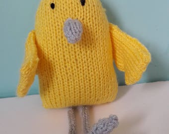 Hand knitted yellow chick