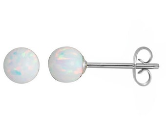 White fire gilson opal 5 mm round ball / bead / sphere stud earrings 925 sterling silver