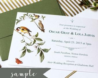 SAMPLE || Garden Birds Wedding Invitation